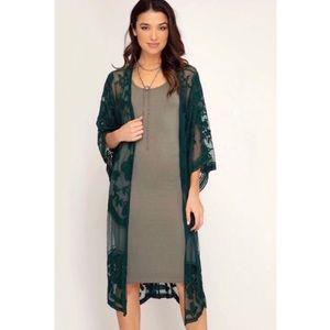 She + Sky Crochet Lace Midi Duster Kimono - Green